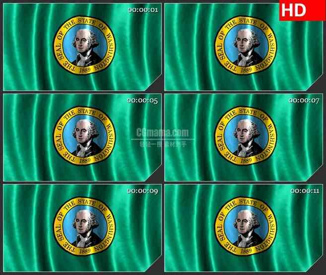 BG1168-华盛顿州的旗帜飘动三维动画动态LED高清视频背景素材