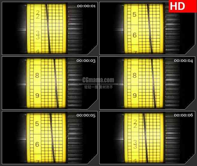 BG1171-黄色计量图数字特写动态LED高清视频背景素材