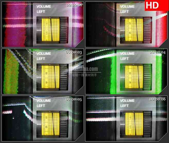 BG1172-黄色计量图数字指针变动动态LED高清视频背景素材