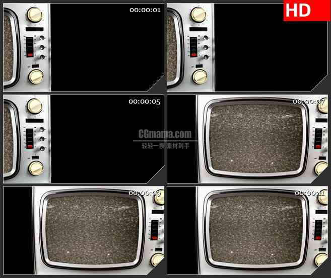 BG1190-老式电视燥波雪花点黑条动态LED高清视频背景素材
