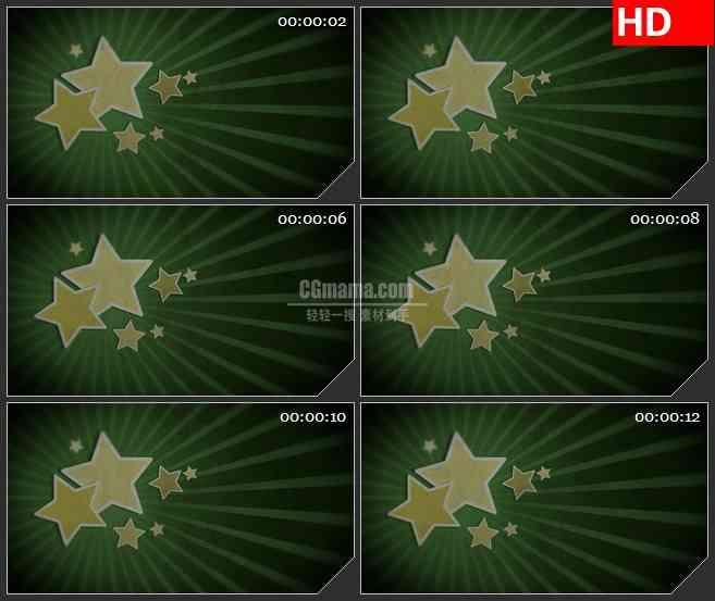 BG1192-老式复古星星射线绿色背景动态LED高清视频背景素材