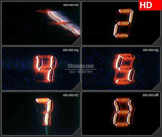 BG1204-扭曲红色电子燥波数字倒计时动态LED高清视频背景素材