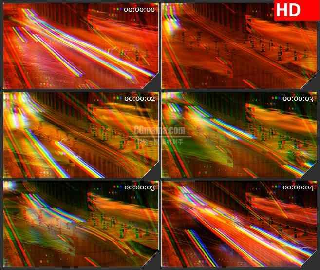 BG1205-扭曲图像的高速公路夜晚霓虹灯光动态LED高清视频背景素材