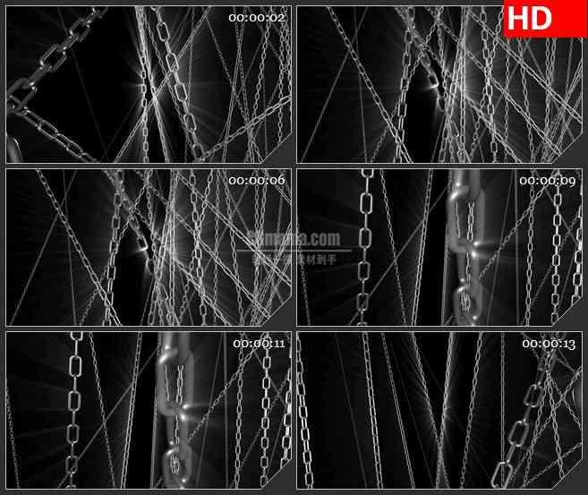 BG1208-三维扭曲光线链条黑色背景动态LED高清视频背景素材