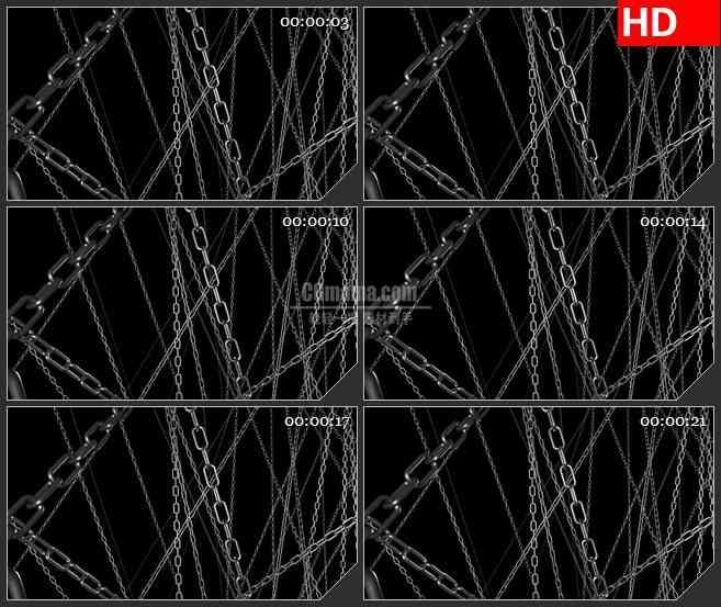 BG1209-三维扭曲光线链条旋转黑色背景动态LED高清视频背景素材