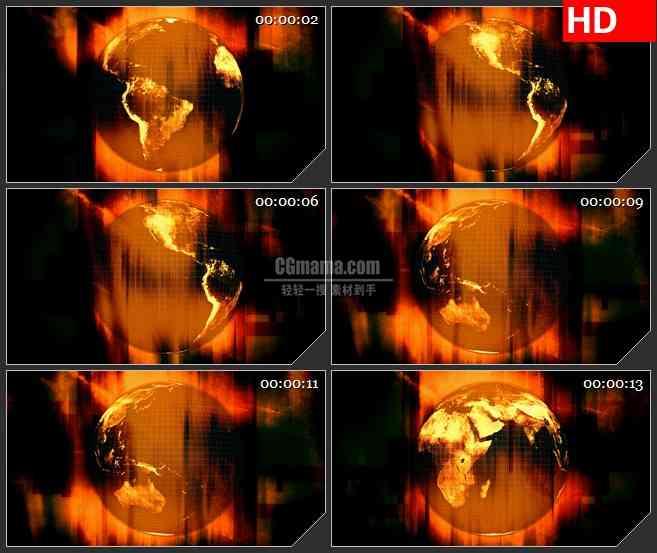BG1210-三维世界地球转动红铜色背景动态LED高清视频背景素材