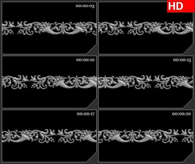 BG1226-运动植物图案立体复古卷草花纹黑色透明背景动态LED高清视频背景素材