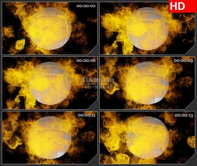 BG1228-灼热橙色火焰燃烧白色三维排球转动体育运动黑色背景动态LED高清视频背景素材