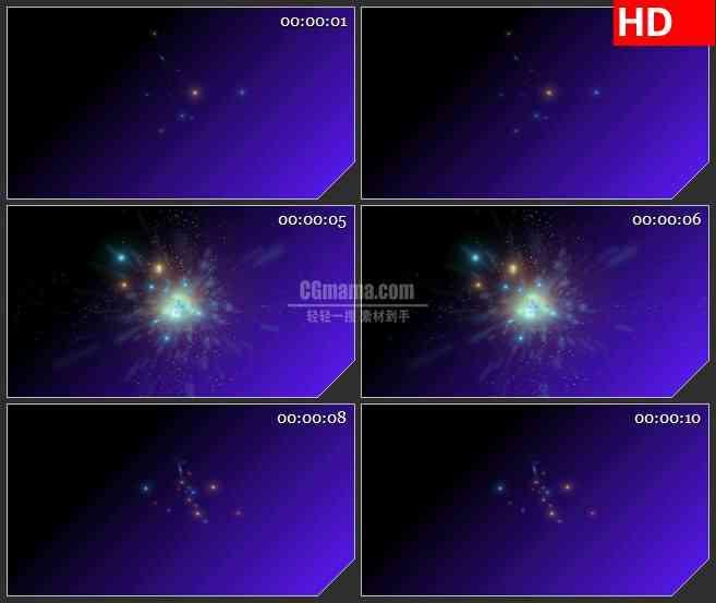 BG1237-紫色空间粒子爆破动态LED高清视频背景素材