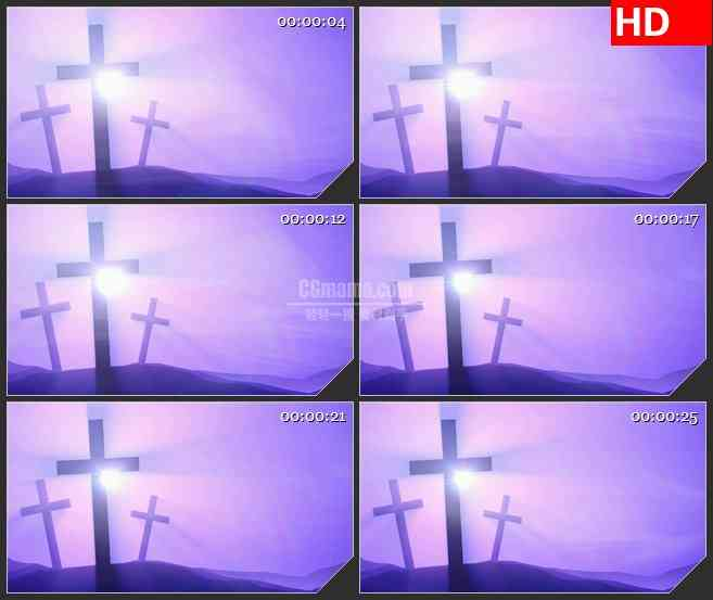 BG1239-紫色十字架山剪影动态LED高清视频背景素材
