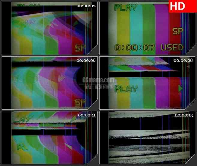 BG1241-VCR 彩色条纹屏信号干扰动态LED高清视频背景素材