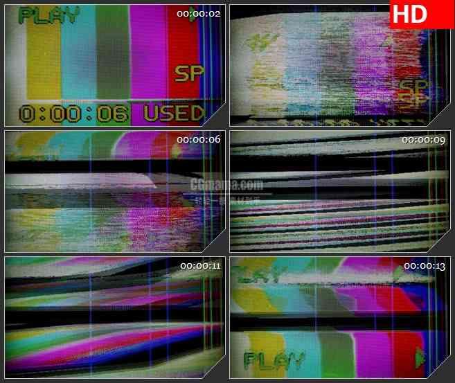 BG1244-VCR模糊颜色彩条信号干扰动态LED高清视频背景素材