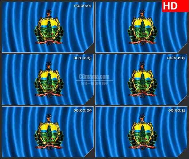 BG1273-佛蒙特州三维旗帜飘动动画动态LED高清视频背景素材