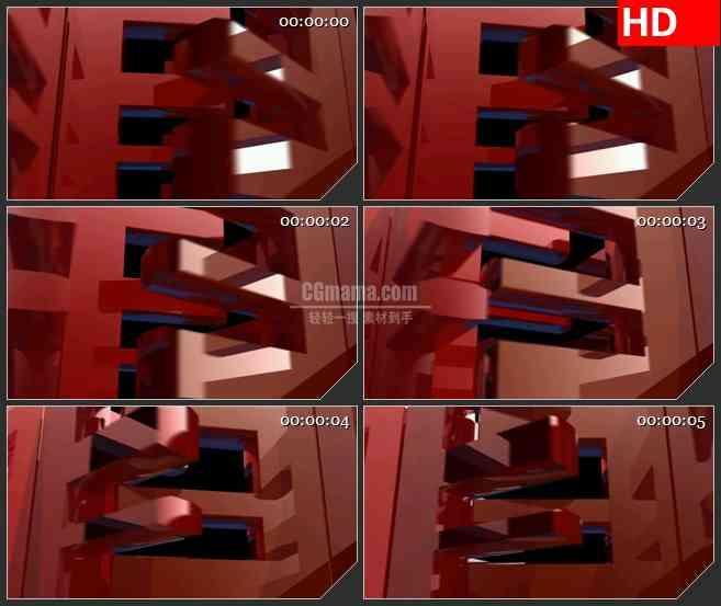 BG1282-交叉旋转的半透明暗红色矩形框动态LED高清视频背景素材