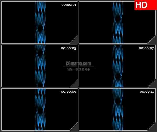 BG1285-蓝色半透明螺旋光波运动黑背景动态LED高清视频背景素材