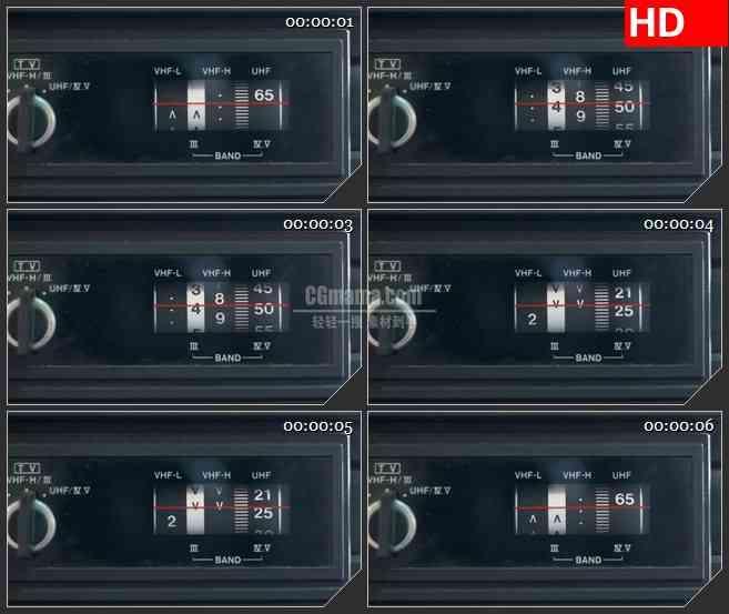 BG1296-老式收音机红色标线音量变化特写动态LED高清视频背景素材