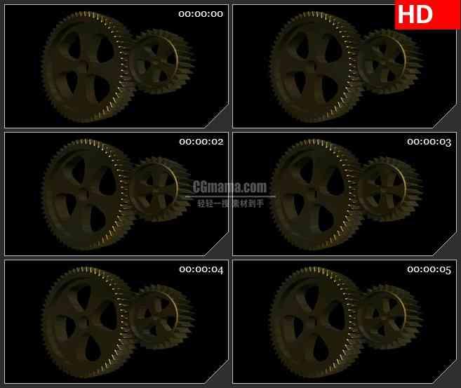 BG1297-两个齿轮旋转工作动态LED高清视频背景素材