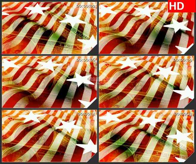 BG1302-美国货币钱美元红白条形旗飘动动态LED高清视频背景素材