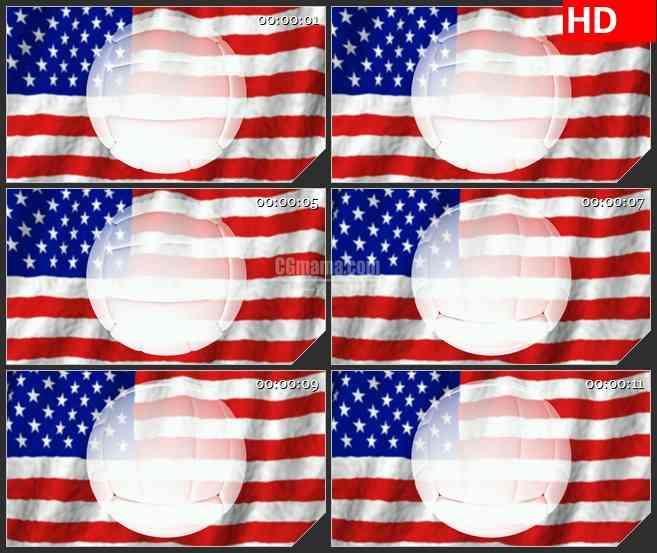 BG1309-美国星条旗国旗飘动女排白色排球三维动画旋转动态LED高清视频背景素材