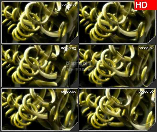 BG1321-三维立体金色旋转戒指圆环动画动态LED高清视频背景素材