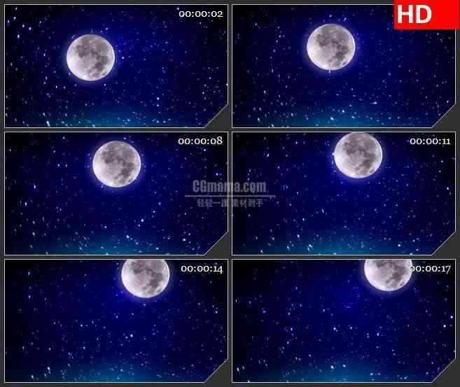 BG1326-闪烁星星明亮圆月深蓝色天空动态LED高清视频背景素材