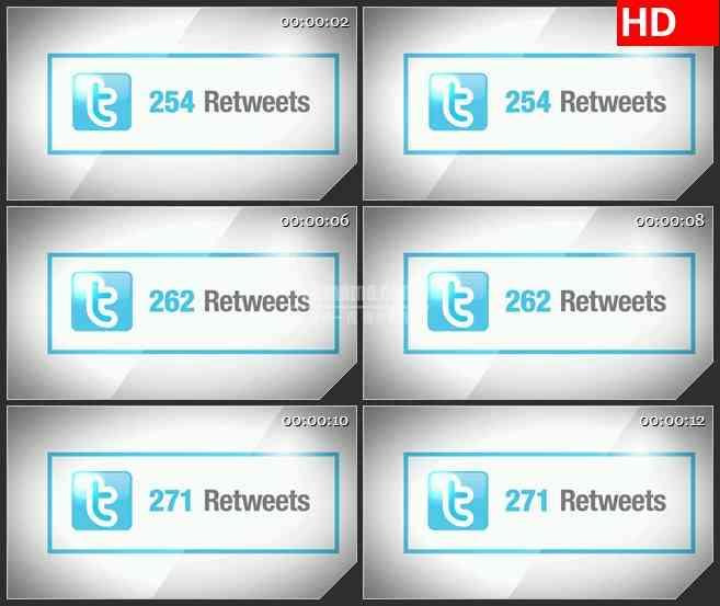 BG1340-推特Retweet计数器动态LED高清视频背景素材