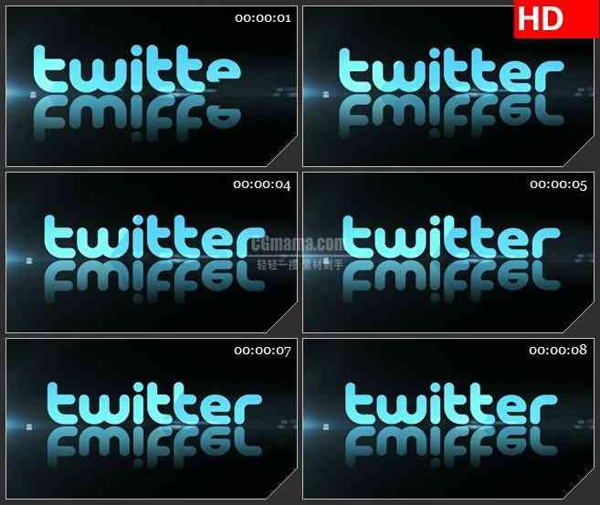 BG1341-推特淡蓝色反光标志动态LED高清视频背景素材
