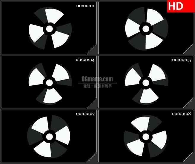BG1346-危险辐射化学品黑白标志旋转转动动态LED高清视频背景素材