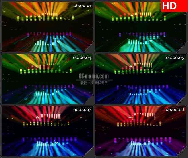 BG1348-五彩双面音波动感酷炫音乐动态LED高清视频背景素材