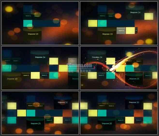AE2615-方块拼接 光线穿梭 文本展示