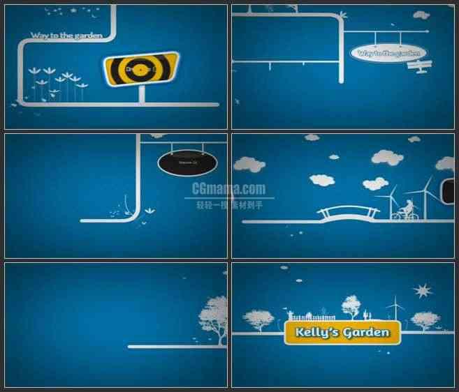 AE2625-白色直线二维动画 生活小漫画 图文视频展示