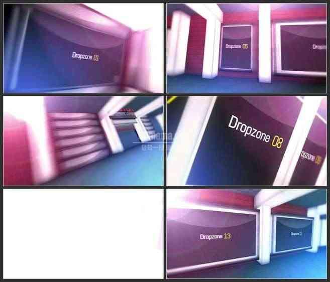 AE2634-通道两边的展示栏 3D空间文本 图片视频展示