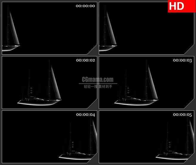 BG1370-带alpha通道的透明的帆船高清特效合成视频素材