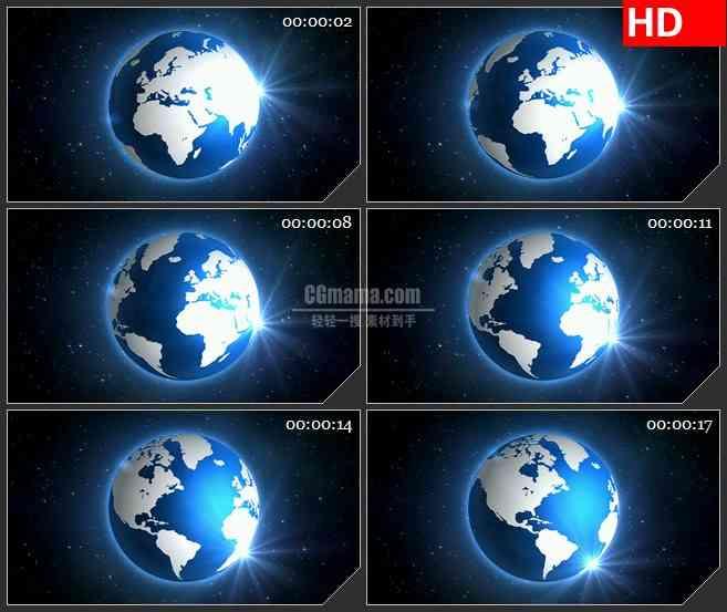 BG1379背后蓝色平面地球转动三维动画动态LED高清视频背景素材