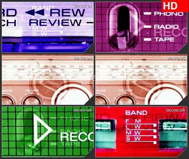 BG1395磁带播放器蒙太奇绿色背景动态LED高清视频背景素材