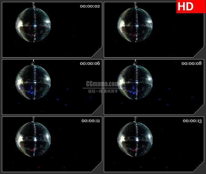 BG1406迪斯科KTV亮片球转动黑色背景动态LED高清视频背景素材