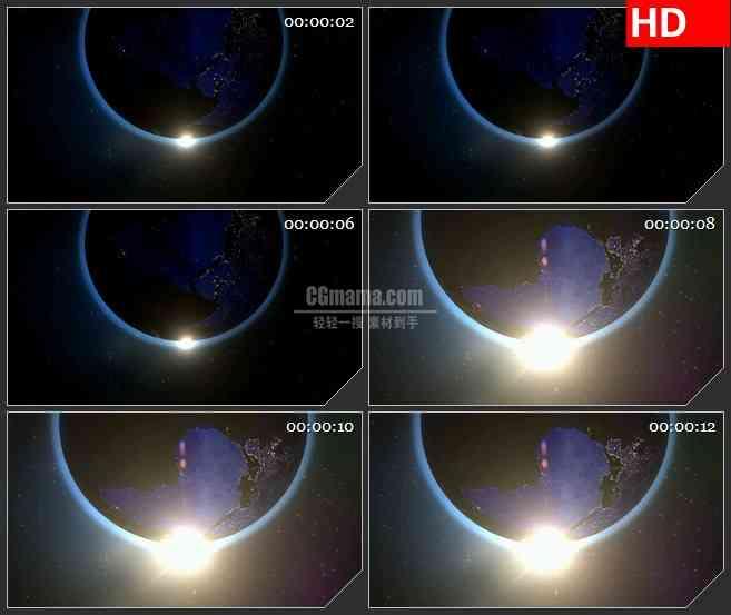 BG1408地球太阳阳光三维动画动态LED高清视频背景素材