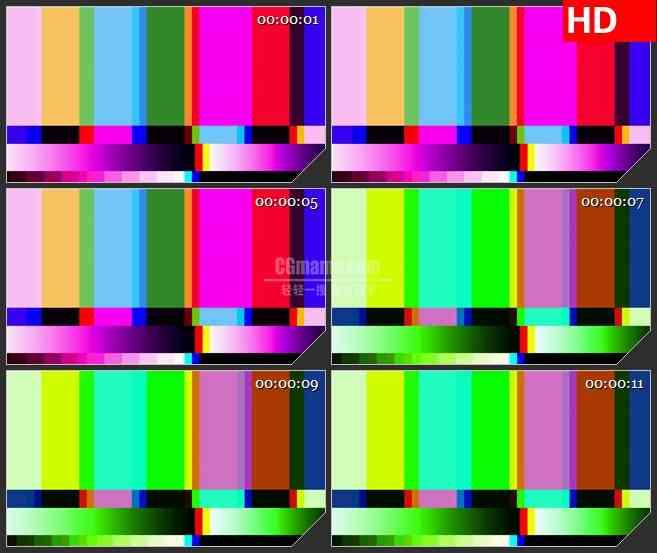 BG1414电视屏幕无信号彩条背景动态LED高清视频背景素材