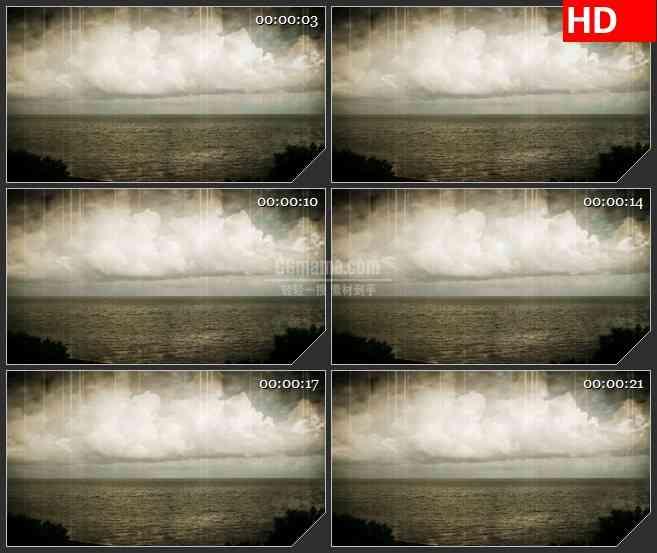 BG1426复古回忆暴风雨天空海面动态LED高清视频背景素材