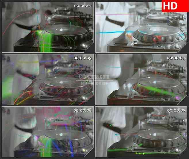 BG1431工作室DJ音乐唱盘彩色荧光灯萤火动态LED高清视频背景素材