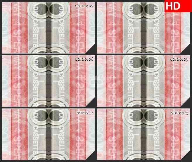 BG1434黑白磁带播放器镜像对称动态LED高清视频背景素材