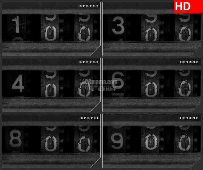 BG1436黑白磁带计数器特写数字跳动动态LED高清视频背景素材