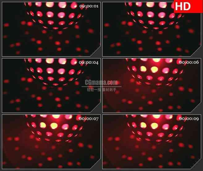 BG1444红色的迪斯科球动感音乐炫酷特效合成透明高清led大屏视频素材