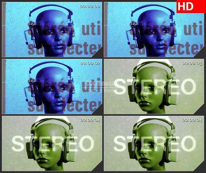 BG1450技术覆盖彩色模特耳机动态LED高清视频背景素材