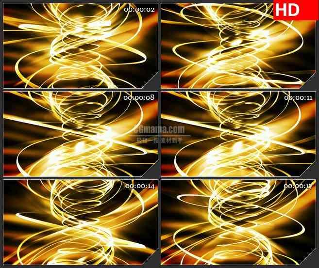 BG1454金黄色螺旋光带丝带龙卷风旋转动态LED高清视频背景素材