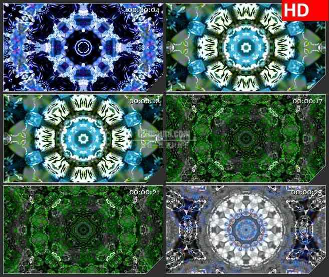 BG1462蓝色青花瓷万花筒变换动态LED高清视频背景素材