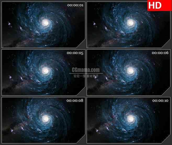 BG1465蓝紫色宇宙银河星系旋转动态LED高清视频背景素材