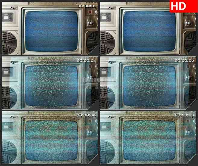 bg1468老式电视机屏幕显示器信号干扰雪花点动态led高清视频背景素材