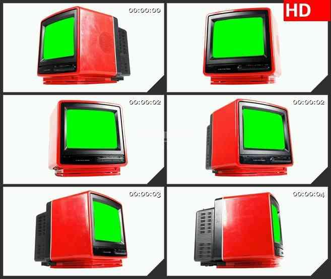 bg1478绿屏红色老式电视机旋转动态led高清视频背景素材