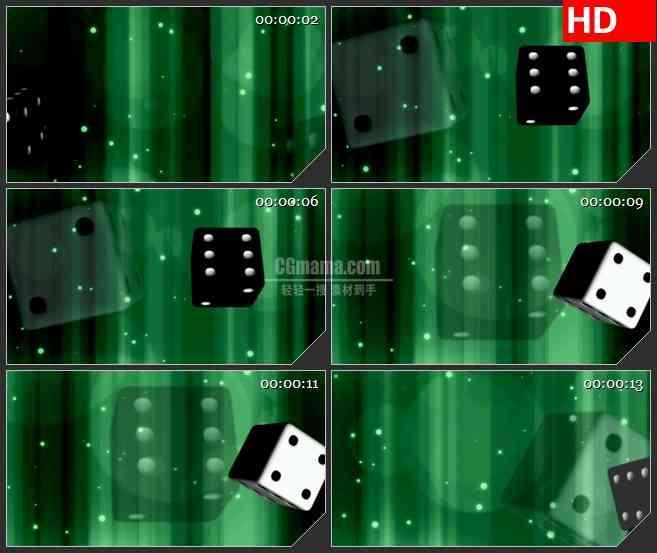 BG1492扔骰子三维动画绿色背景动态LED高清视频背景素材